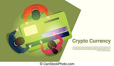 pojęcie, kąt, handlowy zaludniają, górny, pozować, bitcoin, crypto, dajcie wiarę kartę, prospekt
