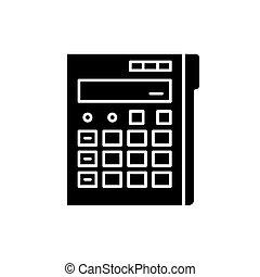 pojęcie, kalkulator, odizolowany, ilustracja, znak, tło., wektor, czarnoskóry, ikona, symbol