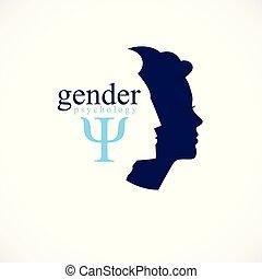 pojęcie, klasyk, prosty, profile, zamknięcie, logo, design., styl, głowy, psychologia, rodzina, opowiadania, kobieta, związek, symbol, problemy, konflikty, człowiek, society., stworzony, rodzaj, wektor, albo