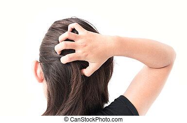 pojęcie, kobieta, ręka, włosy, skalp, closeup, swędzący, troska