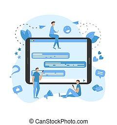 pojęcie, komunikacja, ilustracja, wektor, pogawędka, online