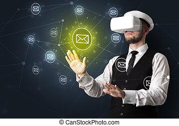 pojęcie, komunikacja, vr, okulary ochronne, online, człowiek
