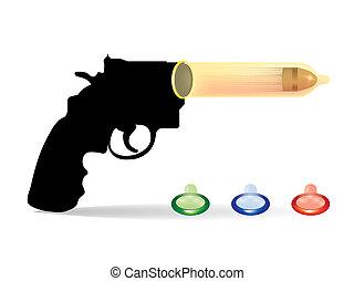 pojęcie, kondomy, -, armata, ilustracja, bezpieczeństwo