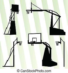 pojęcie, koszykówka, komplet, obręcz, wektor, tło