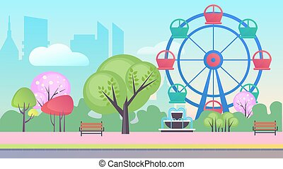 pojęcie, krajobraz, rozrywka, tło, wektor, park, płaski, rysunek, ilustracja