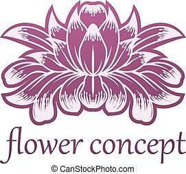 pojęcie, kwiat, projektować, kwiatowy, lilly, ikona