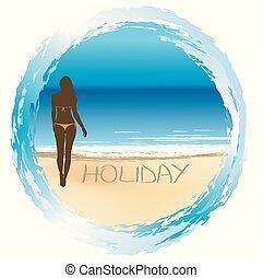 pojęcie, lato, kobieta, święto, plaża