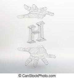 pojęcie, lattice., abstrakcyjny zamiar, nagłówek, styl, twórczy, polygonal, tło., molekularny, oczko, ilustracja, ręka, lines., ruszt, litera, brochure., polygons., polygonal., strukturalny, h, chrzcielnice, wektor