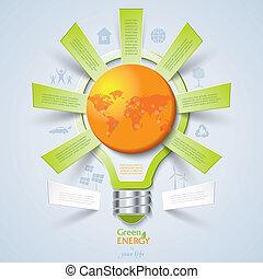 pojęcie, lekki, nowoczesny, idea, ekologia, projektować, szablon, bulwa