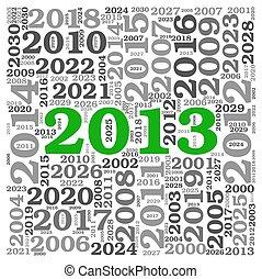 pojęcie, liczba, skuwka, 2013, rok, nowy, chmura