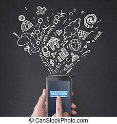pojęcie, media, groźny, smartphone, palec, towarzyski