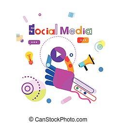 pojęcie, media, guzik, towarzyski, komunikacja, ręka, gracz, połączenie, dzierżawa, internet, chorągiew