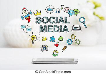pojęcie, media, smartphone, towarzyski