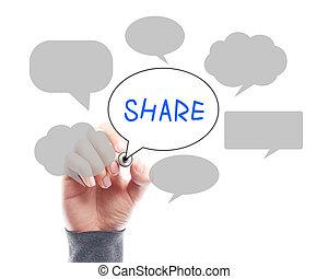 pojęcie, media, whiteboard, ręka, towarzyski, biznesmen, rysunek