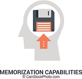 pojęcie, memorization, capabilities, ikona