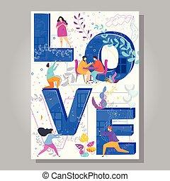 pojęcie, miłość, afisz, typografia, twórczy, day., słowo, valentine