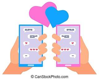 pojęcie, miłość, ludzie, wektor, online, chating