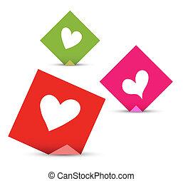 pojęcie, miłość, notatki, valentine, wektor, hearts., papiery, komplet, lepki