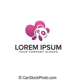 pojęcie, miłość, projektować, szablon, logo, panda