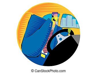 pojęcie, napędowy, handlowy zaludniają, wóz, -, przewóz, biznesmen, senior, podróż, szczęśliwy