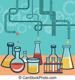 pojęcie, nauka, -, praca badawcza, wektor, chemia