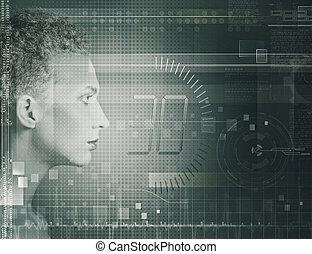 pojęcie, nauka, techno, portrait., samica, technologia