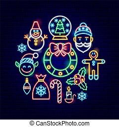 pojęcie, neon, boże narodzenie, wesoły