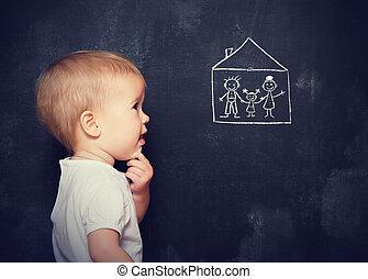 pojęcie, niemowlę, spojrzenia, deska, który, jest, pociągnięty, rodzina, i, dom