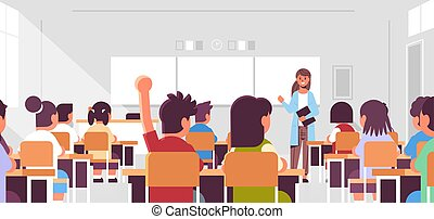 pojęcie, nowoczesny, samica, portret, lekcja, wykształcenie, grupa, uczniowie, nauczyciel, odpowiedź, nauczanie, uczeń, płaski, ręka, wewnętrzny, słuchający, podczas, poziomy, klasa, wychowywanie, klasa, pokój