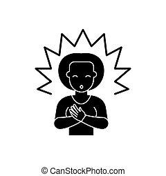 pojęcie, oświecenie, odizolowany, ilustracja, znak, tło., wektor, czarnoskóry, ikona, symbol