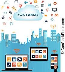 pojęcie, obliczanie, rzeczy, internetowa technologia, chmura