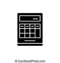 pojęcie, obliczenie, kalkulator, odizolowany, ilustracja, znak, tło., wektor, czarnoskóry, ikona, symbol