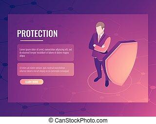 pojęcie, od, finanse, bezpieczeństwo, i, ryzyko, ochrona, biznesmen, z tarczą, dane ochrona, isometric, wektor, chorągiew, 3d