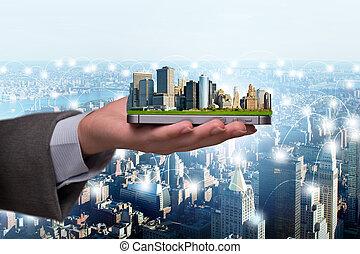 pojęcie, od, innowacyjny, mądry, miasto
