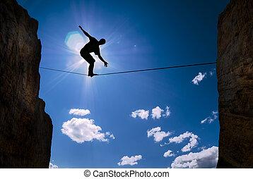 pojęcie, od, ryzyko biorące, człowiek balansowy, na, przedimek określony przed rzeczownikami, związać