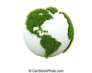 pojęcie, od, zielona ziemia, odizolowany, na białym