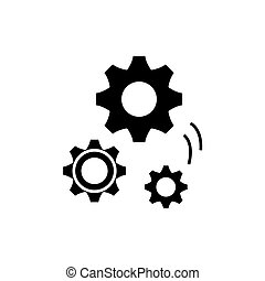 pojęcie, odizolowany, ilustracja, znak, tło., technika, wektor, czarnoskóry, mechaniczny, ikona, symbol