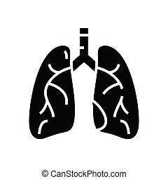 pojęcie, organy, symbol, glyph, wektor, ilustracja, wewnętrzny, ikona, płaski, czarnoskóry, poznaczcie., płuco