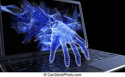 pojęcie, osobisty, laptop, przez, kradzież, dane