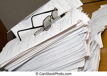 pojęcie, paperwork, pracujący, -, spóźniony, tons