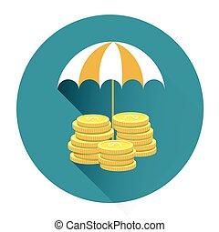 pojęcie, parasol, barwny, pod, finansowe bezpieczeństwo, pieniądz, ikona