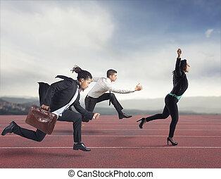 pojęcie, pasaż, powodzenie, rywalizacja, kobieta interesu, przeciw, zdobywa, competitors.
