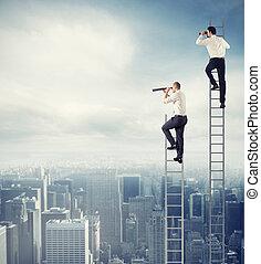 pojęcie, patrzeć, handlowy zaludniają, daleki, business.,...