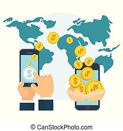 pojęcie, pieniądze, globalny, monety, przelew