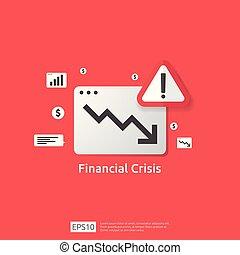 pojęcie, pieniądze, na dół, koszt, spadek, kryzys, okrzyk, bankrut, drop., wykres, dochód, ekonomia, finanse, handlowy, declining., symbol., alarm, reduction., upadek, strata, stracony, mark., rozciąganie, strzała, powstanie