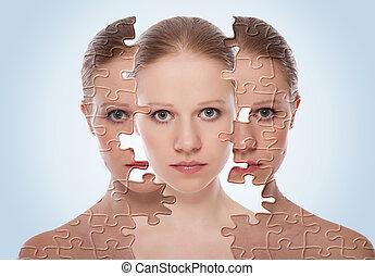 pojęcie, po, młody, twarz, skutki, kobieta, kosmetyka,...