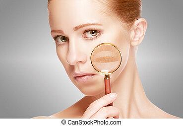 pojęcie, po, skincare., kobieta, skóra, szkło powiększające, postępowanie, przed
