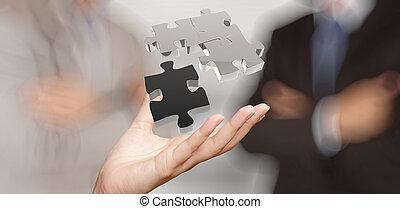pojęcie, pokaz, współudział, znak, biznesmen, ręka, zagadka, 3d