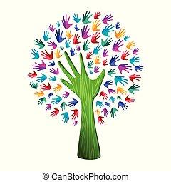 pojęcie, pomoc, barwny, natura, drzewo, ręka, drużyna