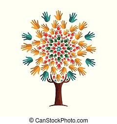 pojęcie, pomoc, drzewo, współposiadanie, ręka, ludzki